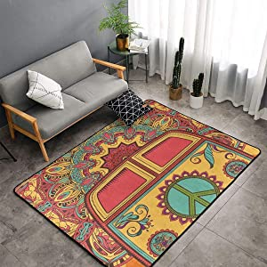 NiYoung Bedroom Livingroom Sitting-Room King Size Kitchen Rugs Home Decor - Hippie Vintage Mini Van Peace Doormat Floor Mat Fast Dry Toilet Bath Rug Exercise Mat Throw Rugs Runner