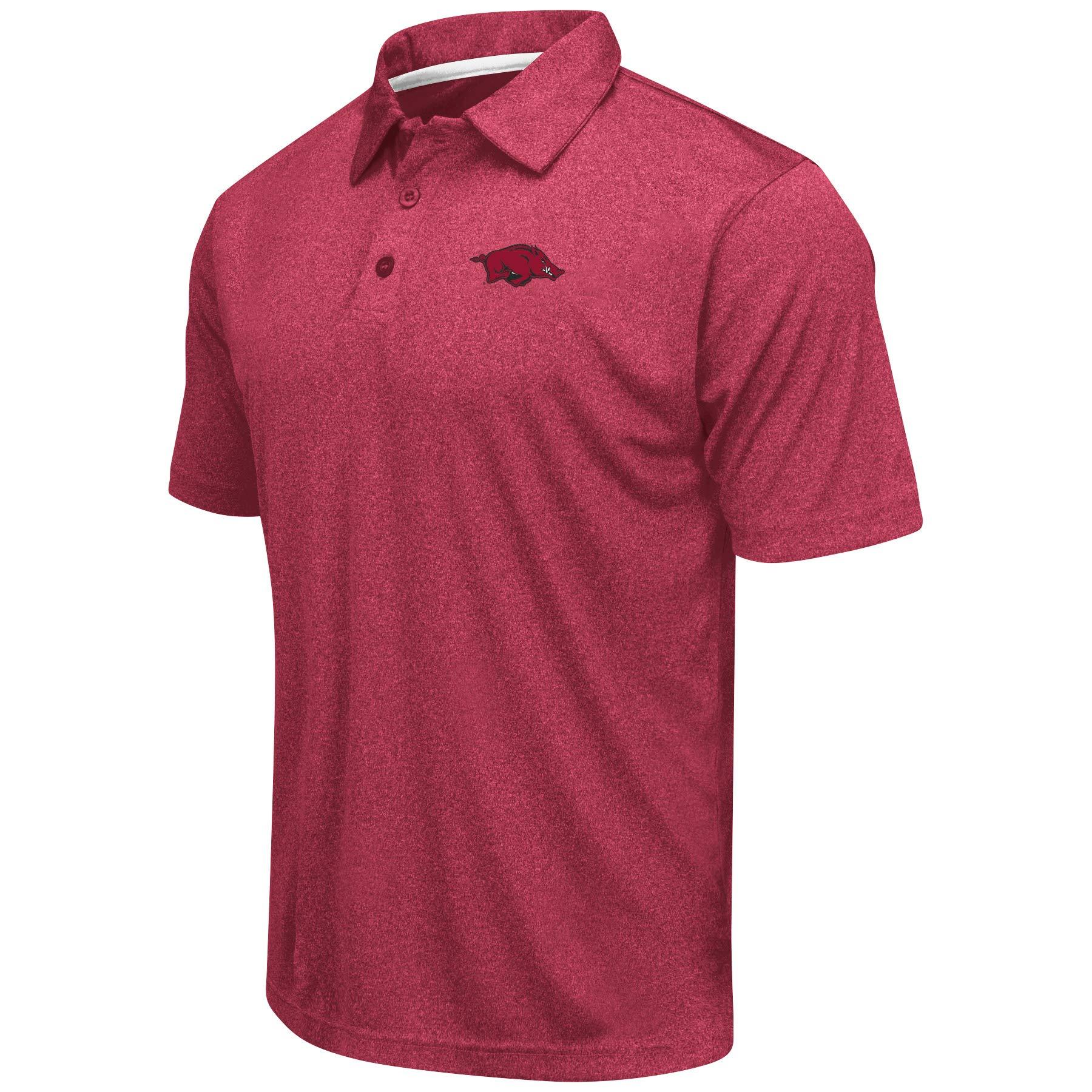Colosseum Men's NCAA Heathered Trend-Setter Golf/Polo Shirt (Arkansas Razorbacks-Heathered Red, Large)