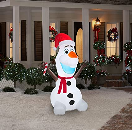 gemmy airblown inflatable olaf wearing santa hat and holding candy cane christmas yard decoration props - Olaf Outdoor Christmas Decoration