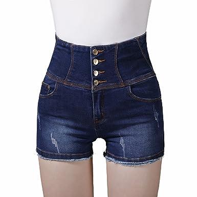 Mujer Pantalones Cortos Vaqueros Básicos, TieNew Denim ...
