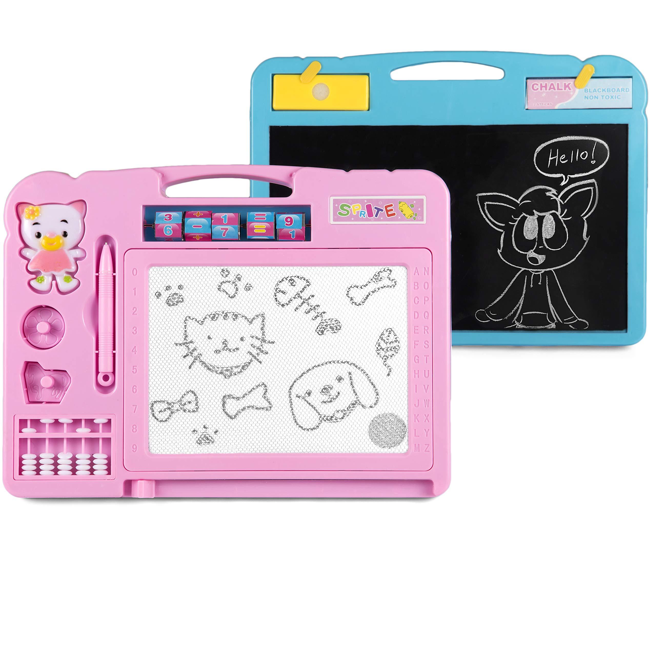 KIDSMARTER 2 in 1 Magnetic Drawing Board + Blackboard for Kids | Erasable Magnetic Doodle Board | Educational Doodle Board for Drawing and Writing | Toddler Doodle Board with Lovely Stamps, Pink