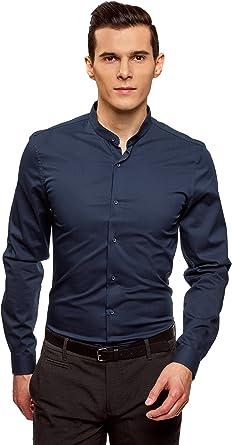oodji Ultra Hombre Camisa de Algodón con Cuello Mao, Azul, сm 43 / ES 54 / L: Amazon.es: Ropa y accesorios