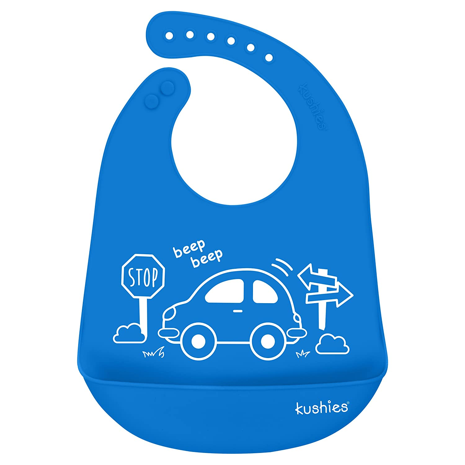 Kushies Silicatch Super Soft Silicone Waterproof Feeding Bib with Catch All/Crumb Catcher, Azure Blue, 6m + Kushies Baby B306-B01