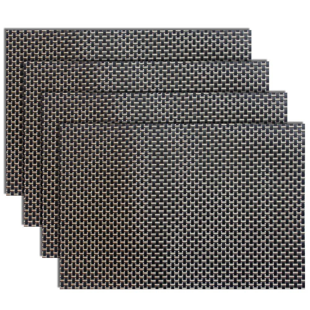 Amazon: Placemats, Heatresistant Placemats Pvc Placemats Woven Vinyl  Placemats Easycare Durable Nonslip Table Mats,set Of 4(black+gold): Home  &