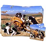 Border Collie in Wheelbarrow Twin Coaster and Placemat Set, Ref:AD-BC3PC