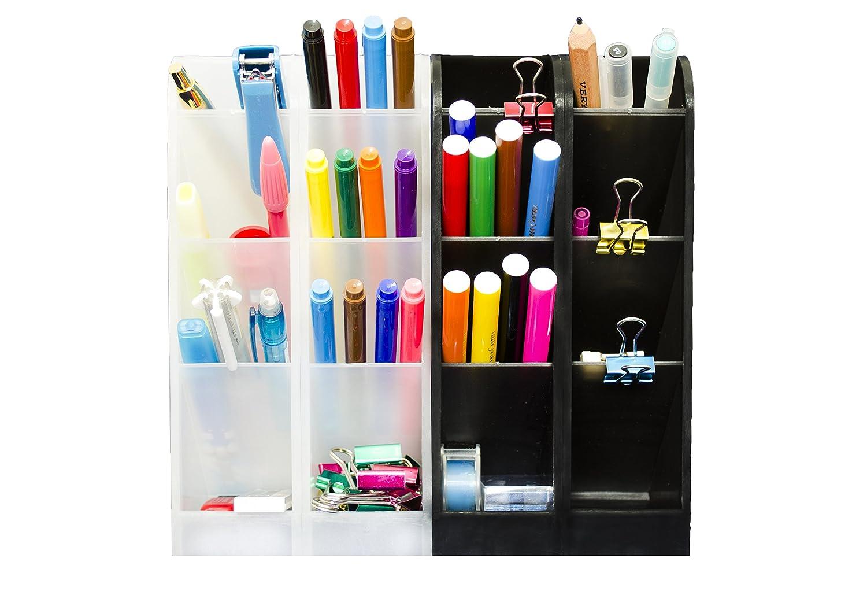 Amazon.com : STYLIO Office Desk Organizer   Caddies For Office/ Teacher  Supplies   Translucent Black U0026 White Caddy Organizer Racks (Set Of 4)  Perfect For ...