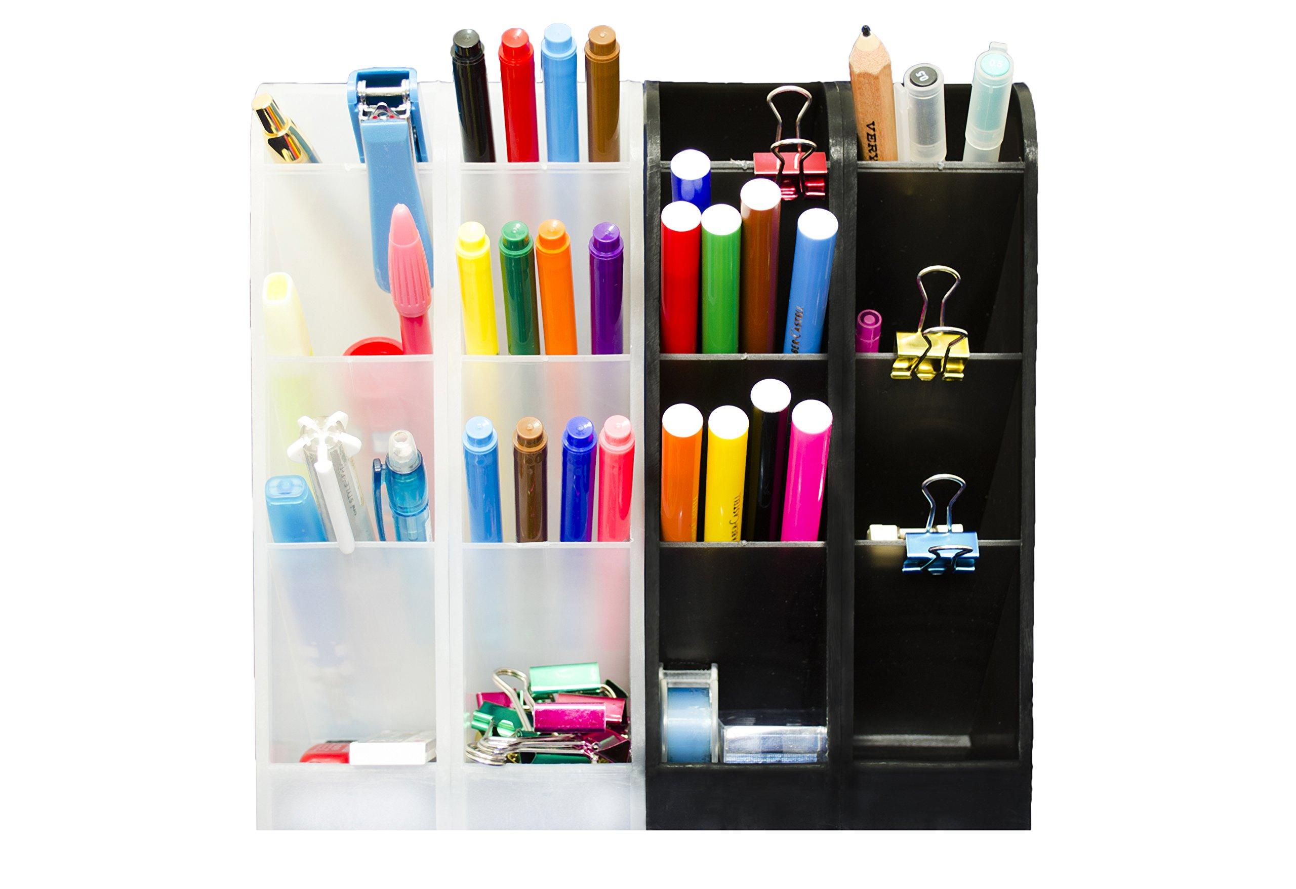 STYLIO Office Desk Organizer - Caddies for Office/Teacher Supplies – Translucent Black & White Caddy Organizer Racks (Set Of 4) Perfect for Desktops