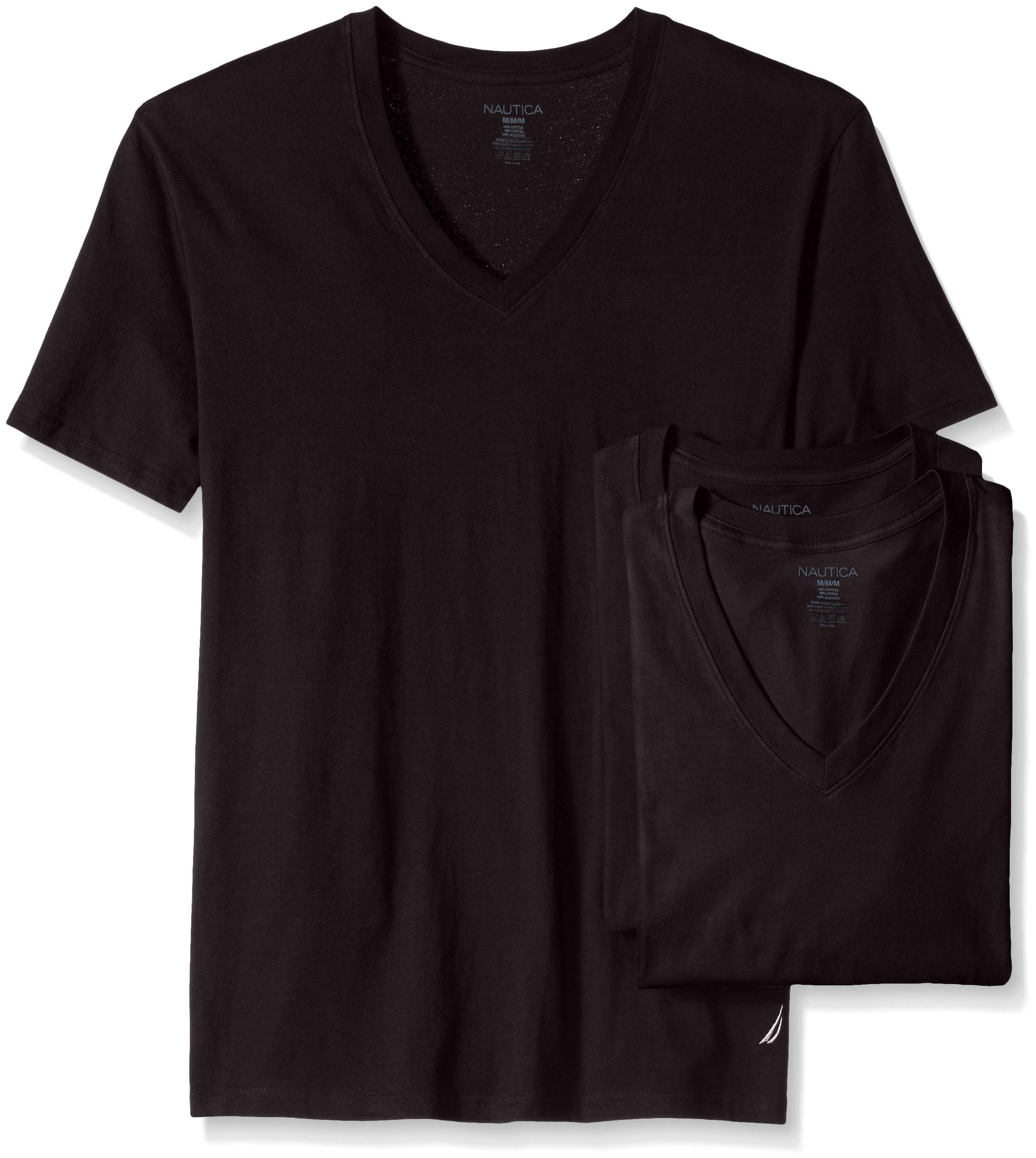 Nautica Men's Cotton V-Neck T-Shirt-Multi Packs, Black-3, S by Nautica