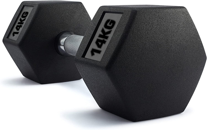 Single TNP Accessories Rubber Hexa Hex Dumbbells Weight Set Solid Dumbbell
