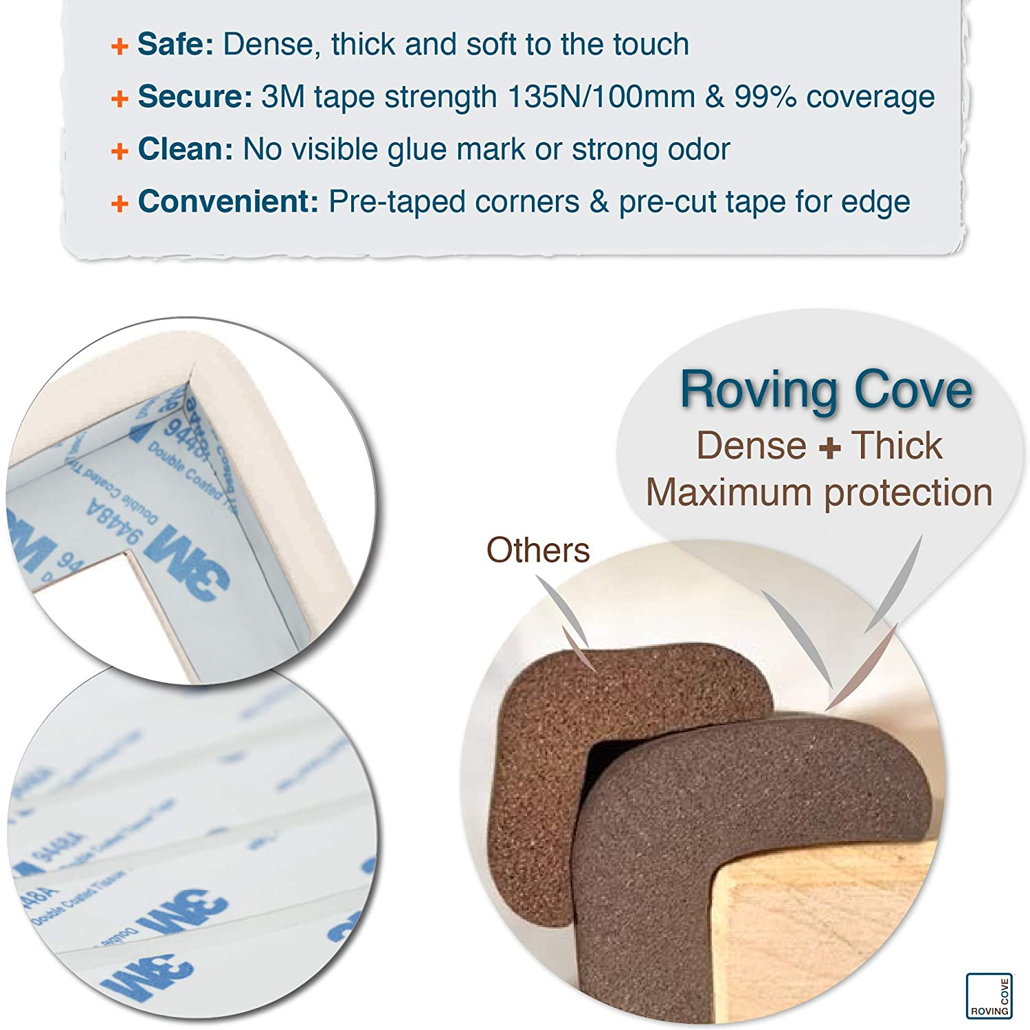 ONYX; Premium Childproofing Edge Corner Guard Safe Edge/® and Corner Cushion 18ft Edge + 8 Corners JUMBO PACK Roving Cove/® 20.4 ft PRE-TAPED CORNERS; Child Safety Home Safety Furniture Bumper and Table Edge Corner Protectors