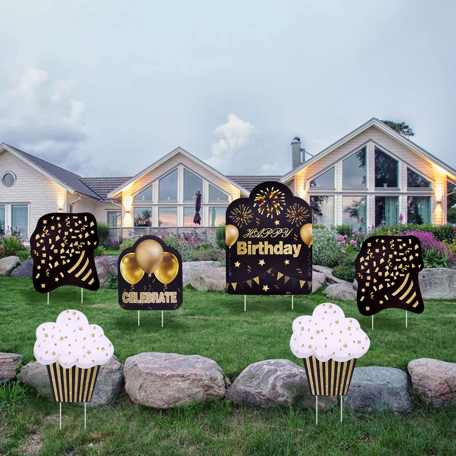 Tuoyi Happy Birthday Yard Garden Sign Decorations, 6pcs Outdoor Weatherproof Corrugated Plastic Banner with Metal Stakes for Celebrate Birthday, Apply to All Ages