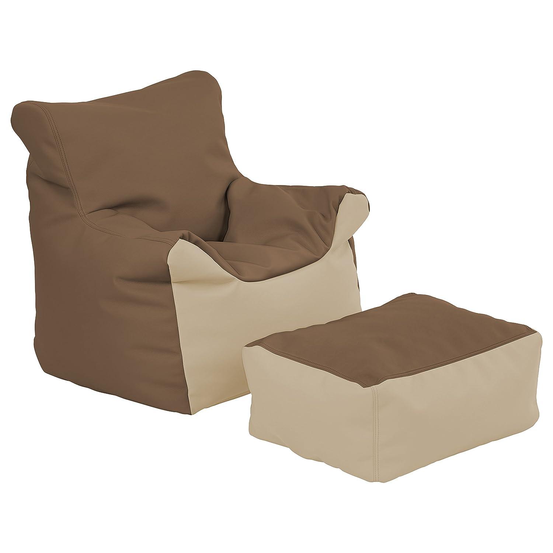 ECR4Kids Bean Bag Chair and Ottoman Set, Blue ELR-12803-BL