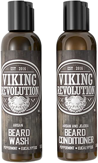 Viking Revolution Beard Wash & Beard Conditioner Set w/Argan & Jojoba Oils  – Softens,