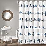 Lush Decor Rowley Cortina de Ducha con diseño de pájaros y Flores, para baño, 182,9 cm x 182,9 cm, Color Azul Marino
