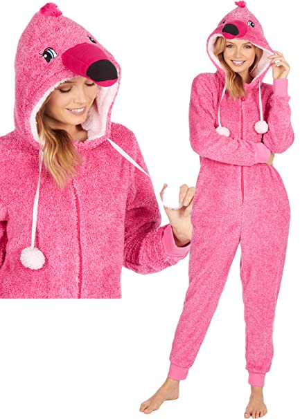 1d2d2d53fb44b Onezee Womens Soft Snuggle Fleece Novelty All in One Onesies Flamingo Pink  Medium Large  Amazon.co.uk  Clothing