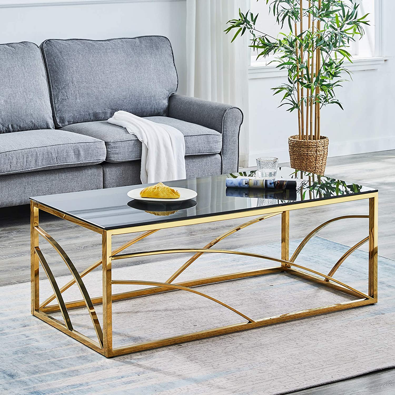 Ainpecca Coffee Table Stainless Steel End Table With Light Grey Tempered Glass Design Living Room Gold Coffee Table B Amazon Co Uk Kitchen Home [ 1500 x 1500 Pixel ]