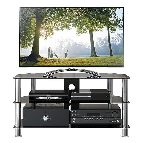 1home Soporte Vidrio Templado Negro de TV para 32-60pulgadas 100 cm de Ancho de