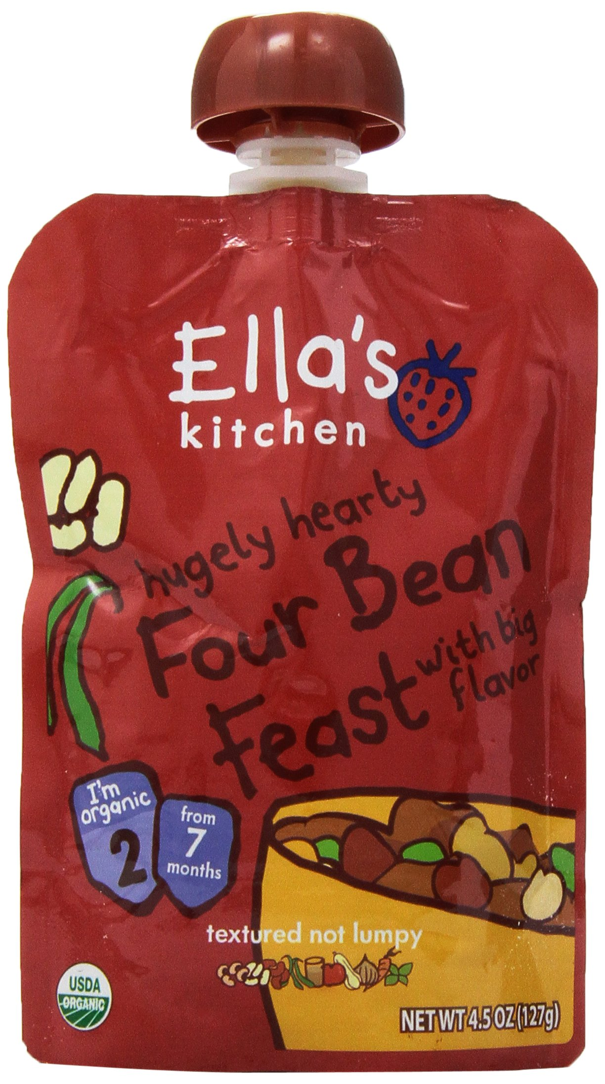 Ella's Kitchen Hugely Hearty Four Bean Feast with Big Flavor, Stage 2, 4.5 oz