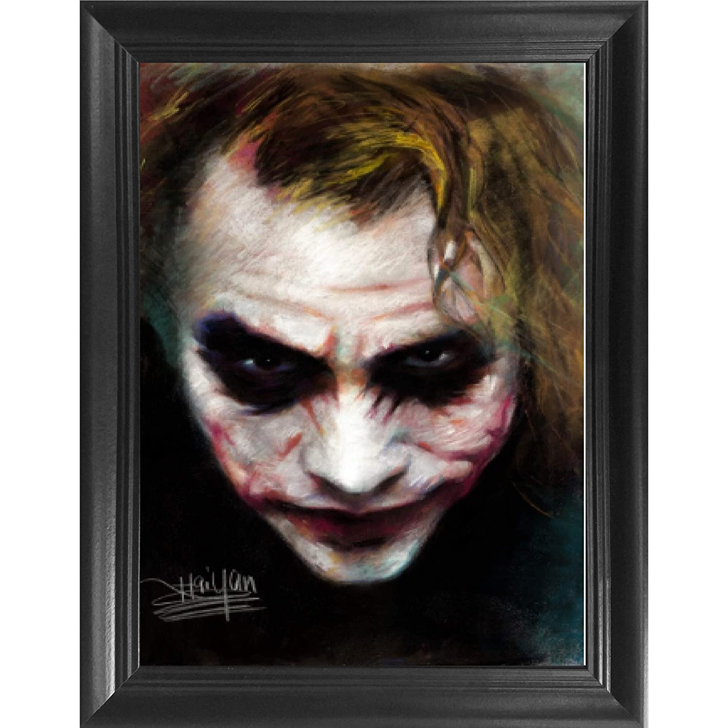 Joker Heath Ledger 3D Poster Wall Art Decor Framed Print | 14.5x18.5 | Lenticular Posters & Pictures | Memorabilia Gifts for Guys & Girls Bedroom | The Dark Knight Batman Movie, DC Comic Book Fan Art