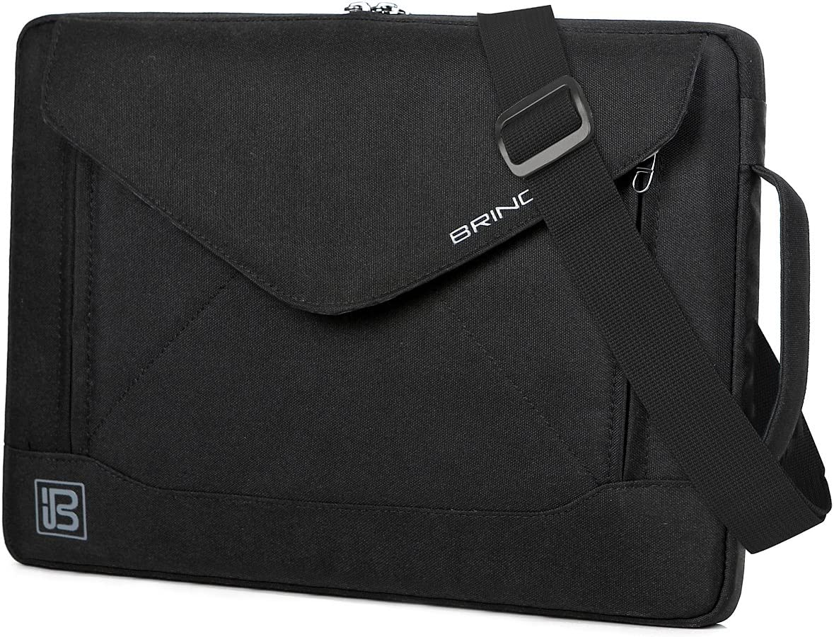 BRINCH 14 Inch Laptop Sleeve Case Protective Bag,Water Resistant Envelope Style Laptop Carrying Case with Handle for Men Women Compatible 13-14 Inch MacBook Pro/Notebook/Chromebook/Ultrabook, Black 81agIYtXHFL