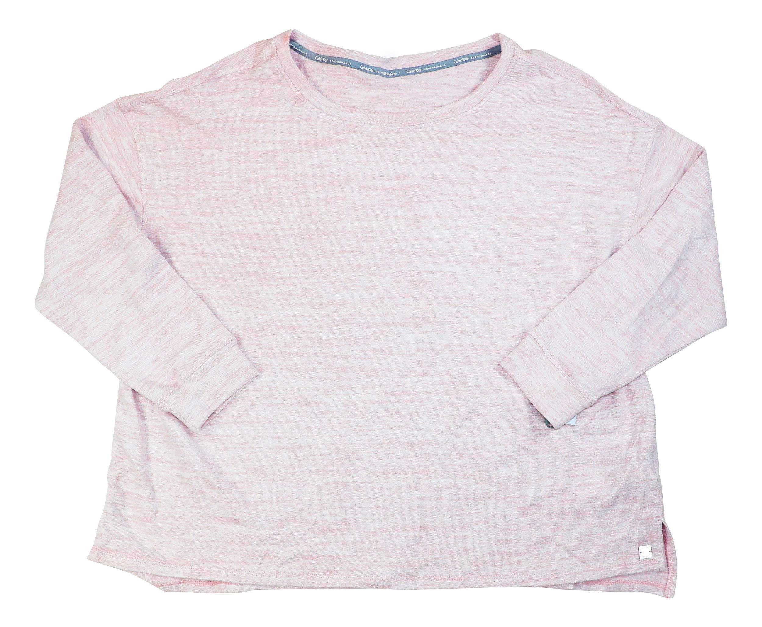 Calvin Klein Plus Size Heathered Pullover Long Sleeve Sweatshirt (Bare Heather, 3X)