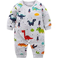 Yierying Baby Boys Girls Cartoon Dinosaurs 100% Cotton Baby Clothes Romper Bodysuit