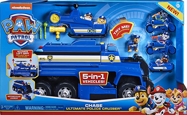 PAW Patrol Chase's 5-in-1 Ultimate Cruiser preschool vehicle toy for kids in package