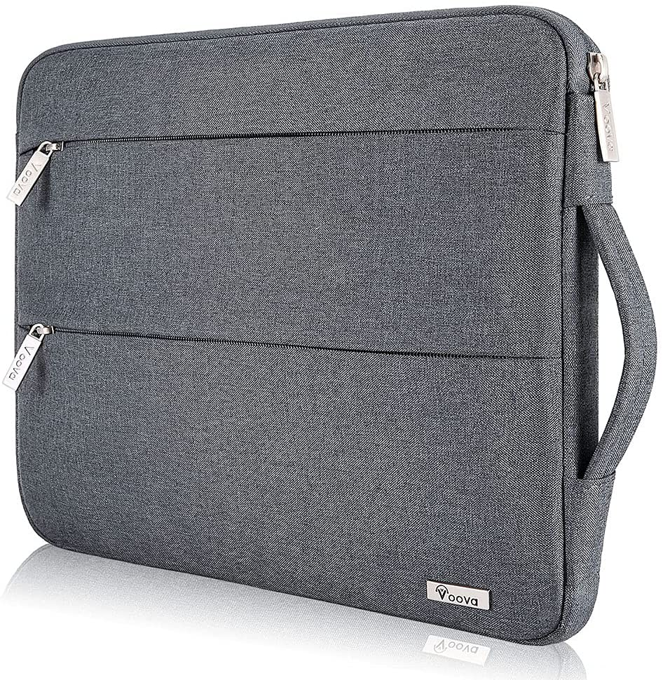 Voova 13 13.3 Inch Laptop Sleeve Case Compatible with MacBook Air / Pro 13 M1 2012-2020, 13.5 Surface Book/Laptop 4 3 2, Acer Asus Dell chromebook, Waterproof Computer Bag Cover with Handle, Dark Grey
