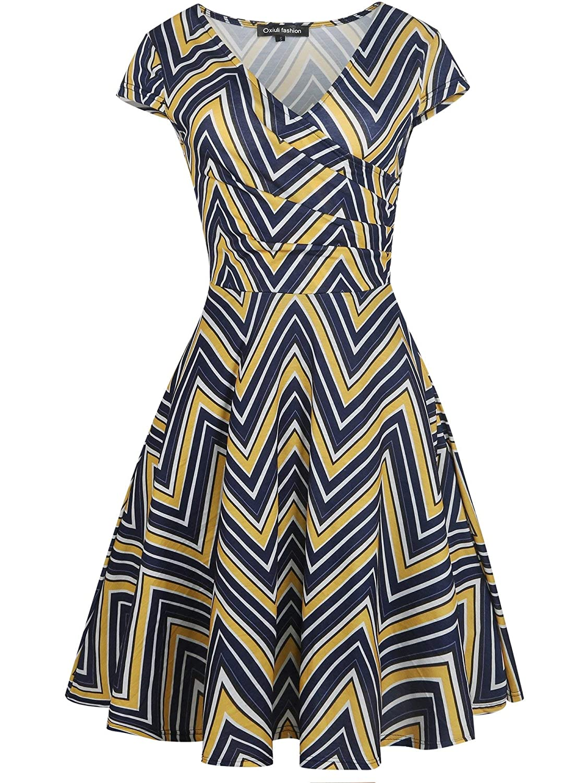bluee stripe Brave pinkmary Women Floral Print Ruffle V Neck Dress Short Sleeve Knee Length Dresses Ladies Casual ALine Dress Vestidos