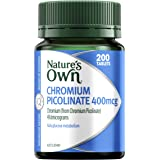 Nature's Own Chromium Picolinate 400mcg - Helps digestion of fats - Helps metabolism of carbs and proteins, 200 Tablets