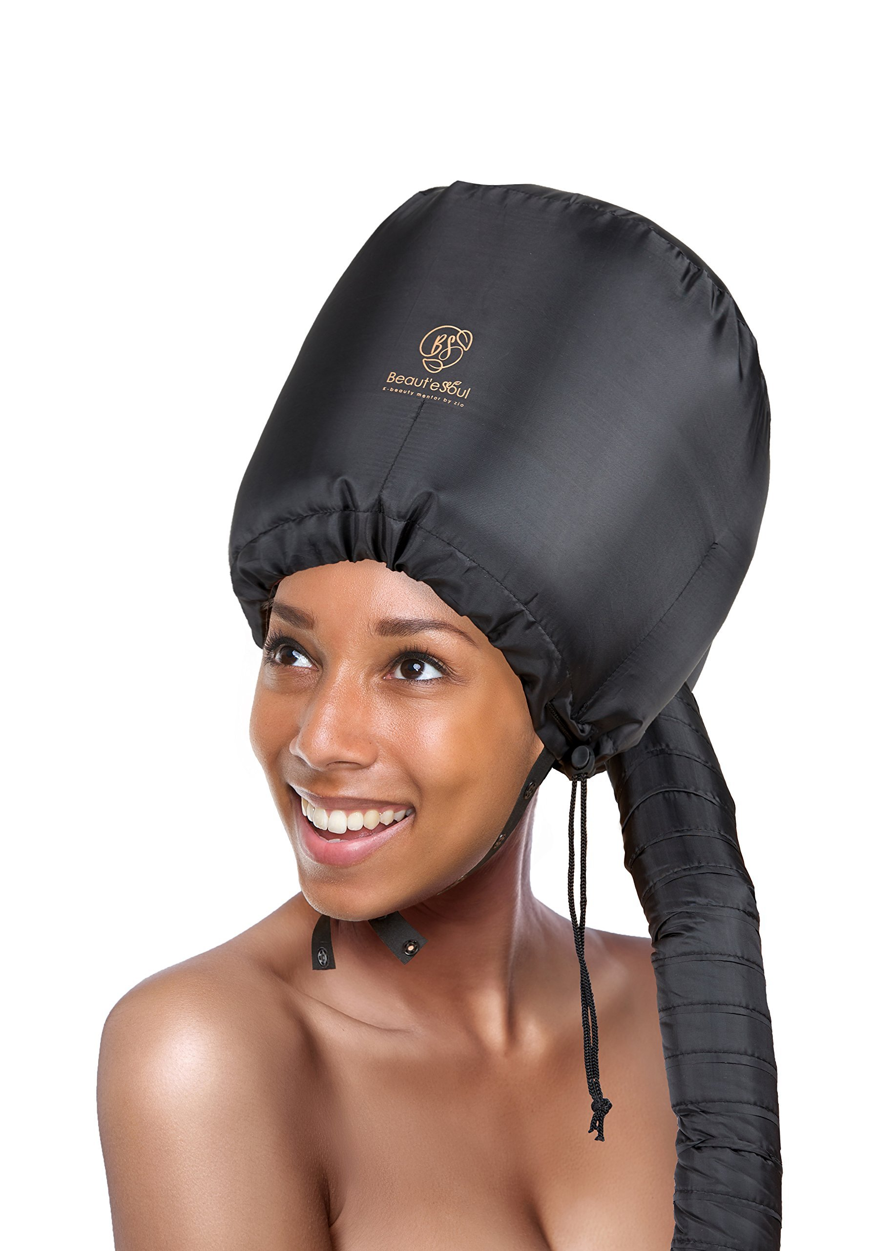 Soft Bonnet Hooded hair dryer Attachment-for Natural Curly Textured Hair Care | Drying, Styling, Curling, Deep Conditioning Mask Cap | Upgraded Soft Adjustable Large Hood Bonnet for Hand Held Dryer