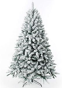 Senjie Artificial Christmas Tree,Premium Snow Flocked Hinged Pine Xmas Tree Holiday Decor 5/6/7 FT