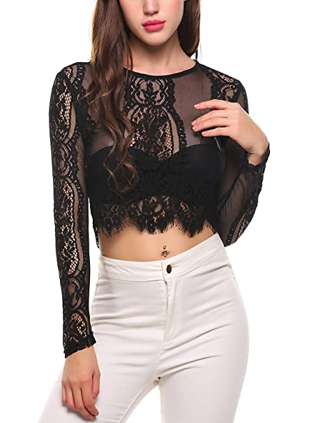 e5305ab762 UNibelle Long Sleeve Mesh Sheer See Through Round Scoop Neck Top Blouse(Black  S)