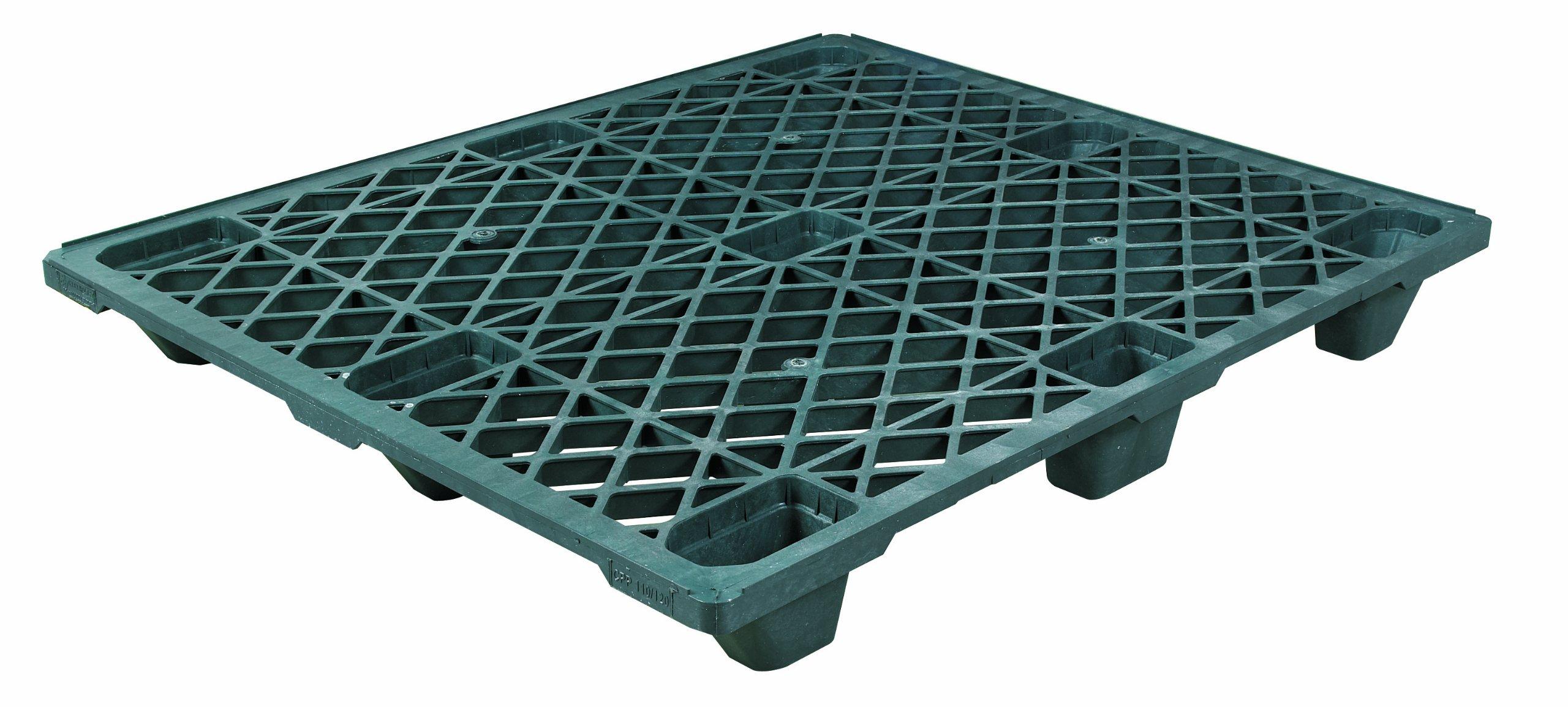 Aviditi CPP110 Economy Plastic Pallet, 48'' x 40'' x 5 1/10'', Black