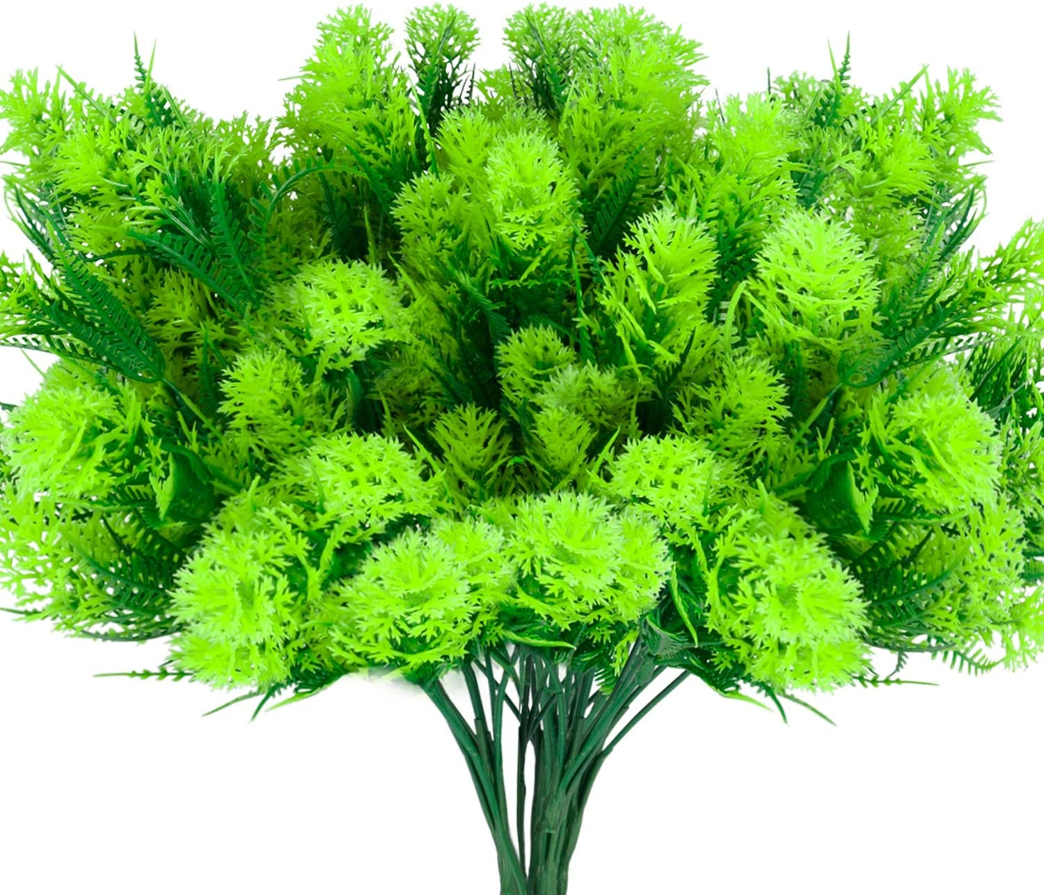 BOUGUI Artificial Fake Flowers, 6 Bundles Large UV Resistant Faux Plastic Greenery Foliage Plants Shrubs for Garden, Wedding, Outside Hanging Planter, Farmhouse Indoor or Outdoor etc Decor