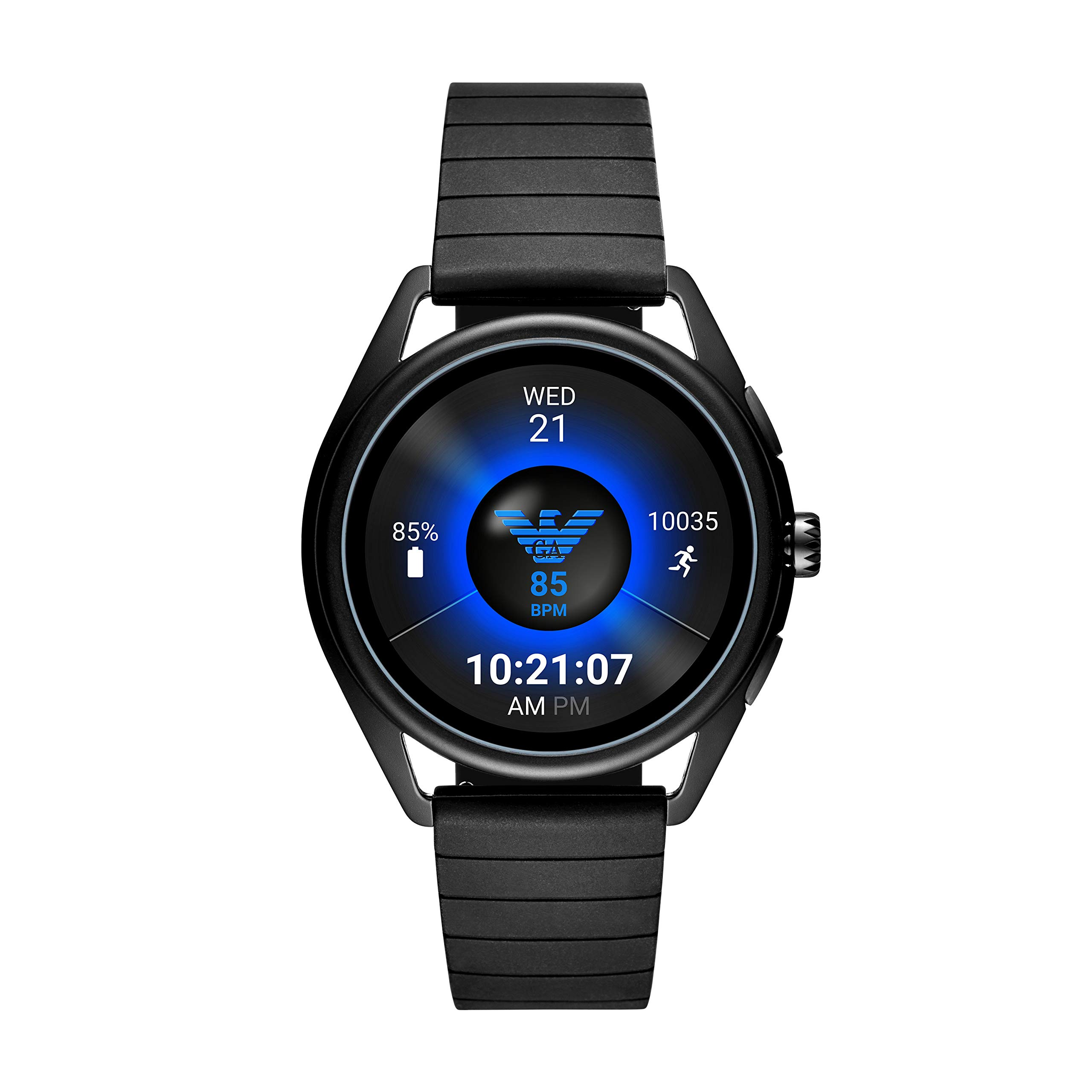 Emporio Armani Men's Touch-Screen Smartwatch with Rubber Strap, Black, 20 (Model: ART5017)