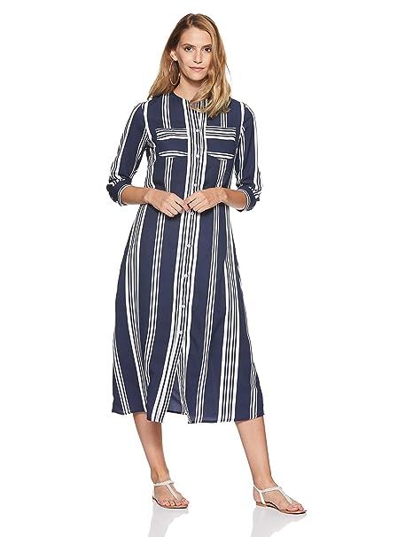 7536cc029d2 Stalk Buy Love Women s Georgette Striped Jenna Midi Shirt Dress (Blue