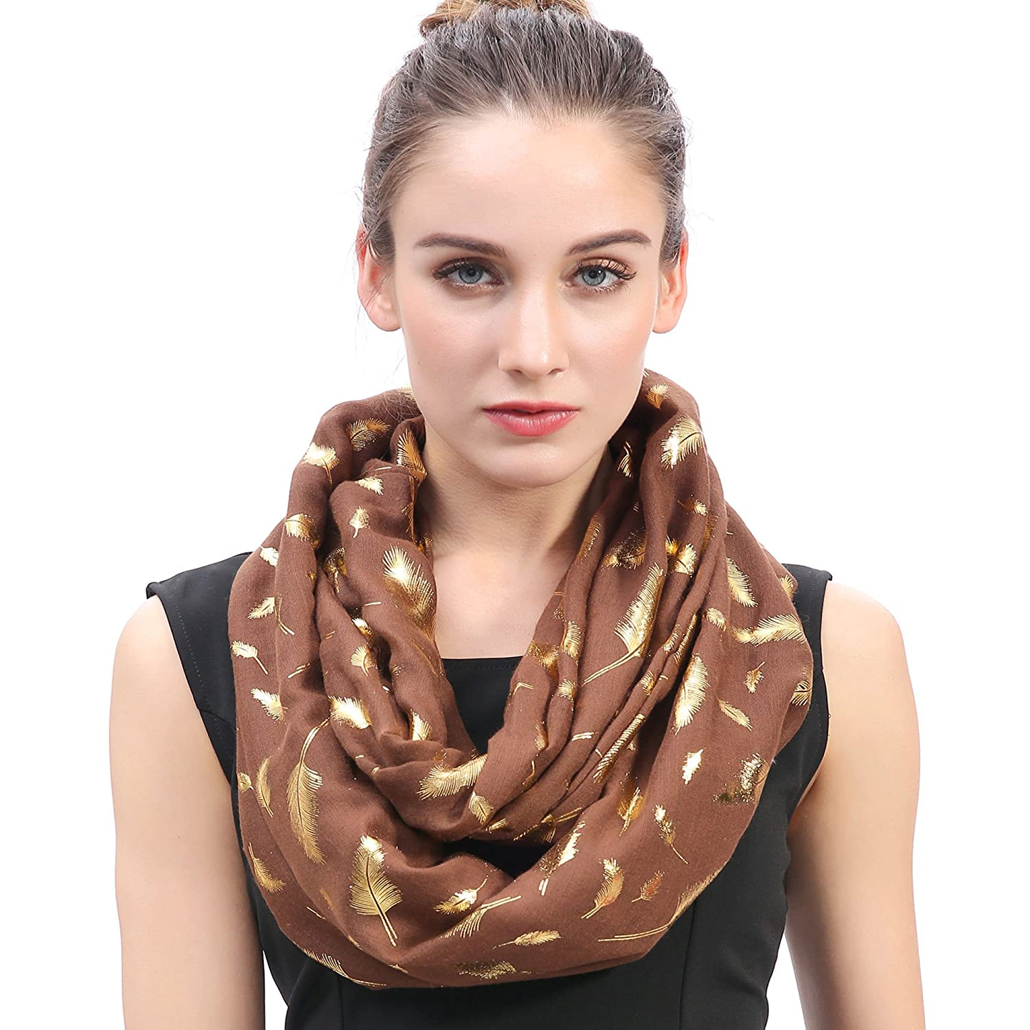 Lina & Lily Metallic Gold Feather Women's Infinity Loop Scarf (Black)
