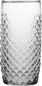 Anchor Hocking Crosshatch Drinking Glasses, Cross Hatch, Clear