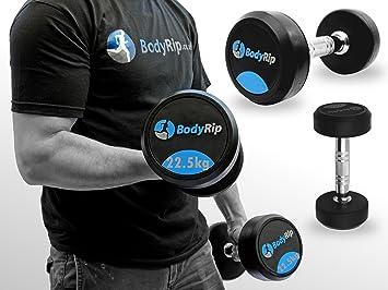 BodyRip - Fijo Set de Gimnasio (Levantamiento de Pesas Peso Fuerza 2,5 kg-30kg, Azul y Negro: Amazon.es: Deportes y aire libre