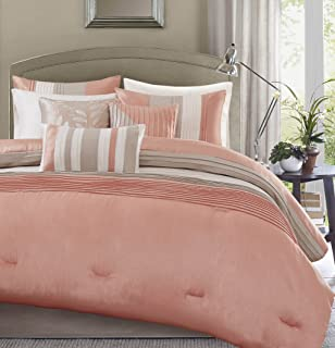 Amazoncom Queen Size Comforter Set In Coral Posh Pintuck Pc - Coral colored comforter set for queen bed