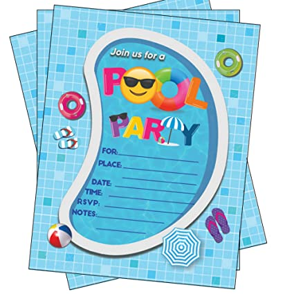Pool Party Invitations Summer Birthday Bash Splash Pad Water Park Invites