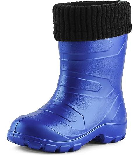 Ladeheid Botas de Agua Antideslizantes Zapatos de Seguridad Unisex Niños LA845KIDS (Aciano2727c/Negro,