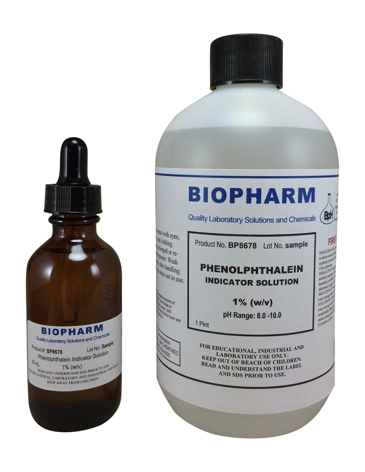 Phenolphthalein Indicator 1% Solution 500 ml (16 oz) Bottle plus 1 Dropper Bottle (2 oz) containing 50 ml of Solution