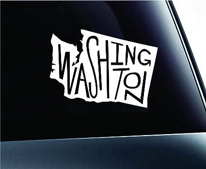 State name washington symbol decal funny car truck sticker window white