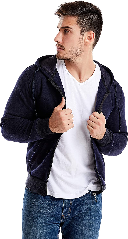 NC Home Fashions Essential Men's Full–Zip Hooded Fleece Sweatshirt- Sport, Casual, Relaxing Outwear