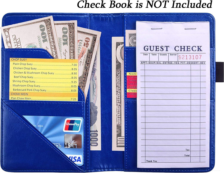 """Server Wallet Waitress Book Server Organizer Server Notebook Waitstaff Organizer Guest Check Book Holder Server Check Book 5X7.7/"""" Blue YOMFUN Waiter Book Server Book Blue"""