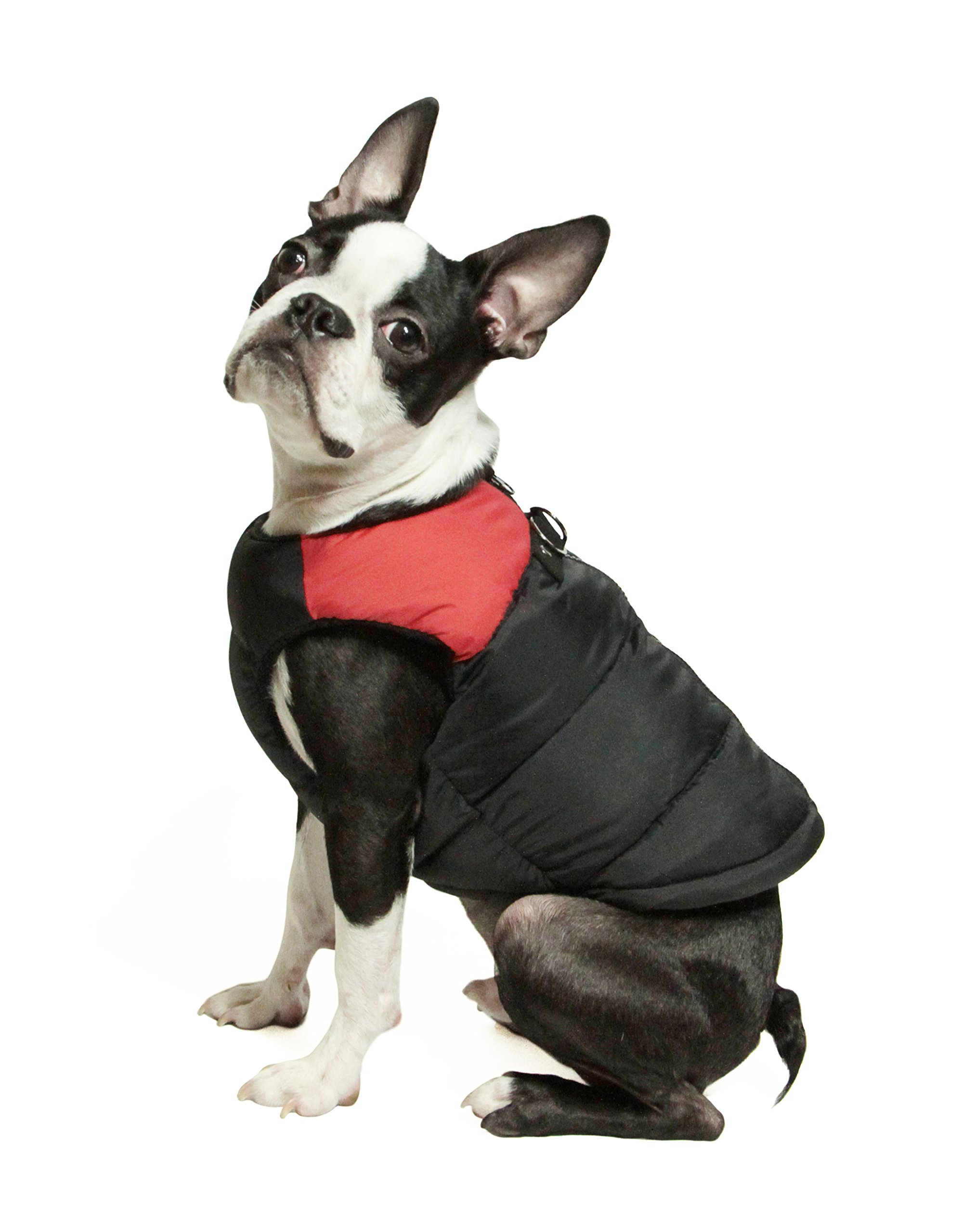 Gooby Padded Cold Weather Vest for Small Dogs with Safe Fur Guard Zipper Closure, Red, Medium by Gooby (Image #1)