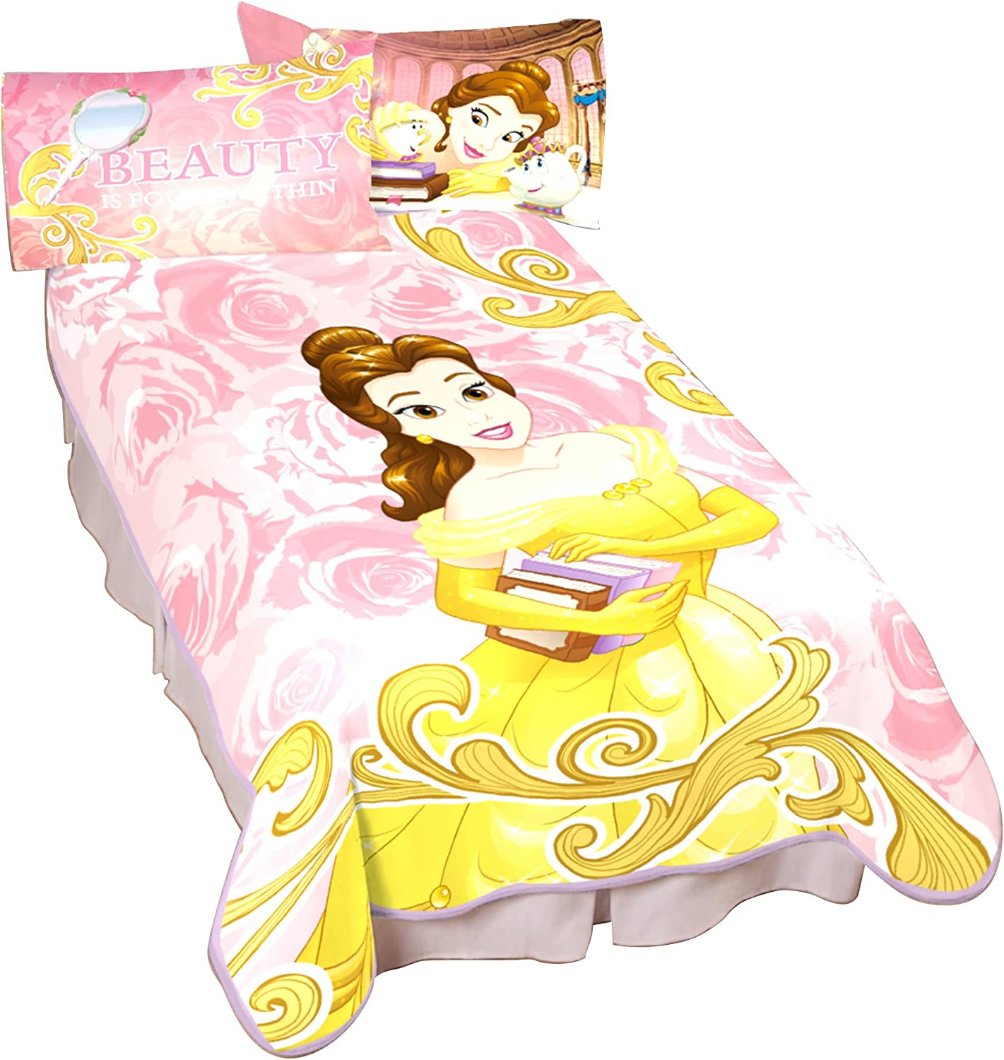 Disney Beauty and The Beast Book Mark Me Blanket, Twin, Yellow/Pink/White