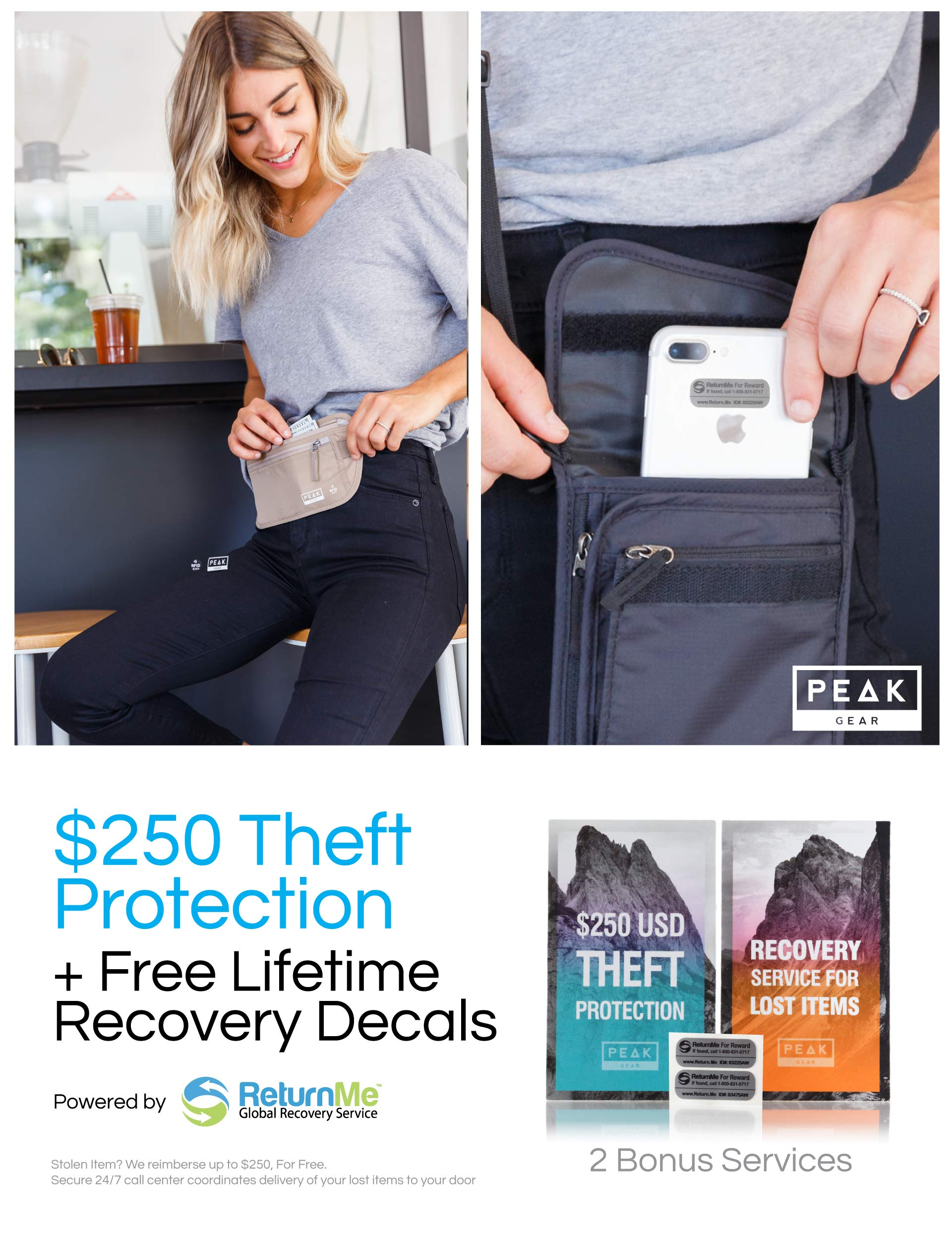 Travel Money Belt with RFID Block Theft Protection and Global Recovery Tags